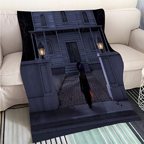 Customized Comfortable 100% Soft Premium Blanket Haunted House Mansion Trick or Treater Halloween Night Perfect for Couch Sofa or Bed Cool Quilt -