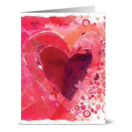 24 Valentine's Day Note Cards - Painted Heart - Blank Cards - Red Envelopes Included Heart Note Card