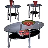 Ashley Furniture Signature Design - Dempsey Occasional Table Set - End Tables and Coffee Table - 3 Piece - Oval - Glass Top with Chrome Base