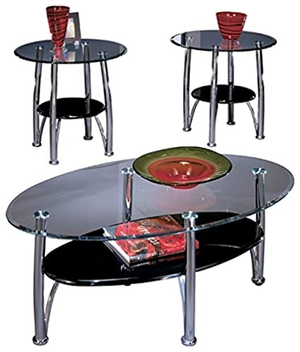 Ashley Furniture Signature Design Dempsey Occasional Table Set End Tables And Coffee Table 3 Piece Oval Glass Top With Chrome Base