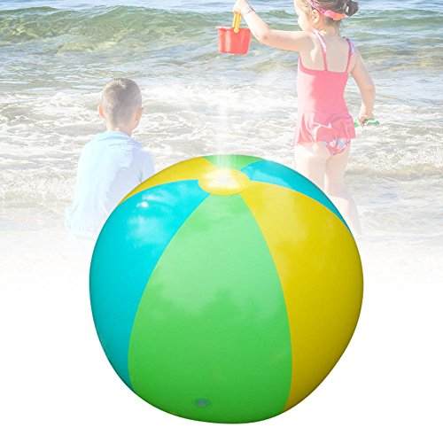 PROKTH 75cm PVC Summer Children's Outdoor Water Game Ball Spraying Water Beach Ball Lawn Game Toy Large Inflatable Water Jet Ball for Swimming Pool, Beach, Home Garden(Multicolor) by PROKTH
