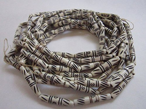 Genuine Carved Detailed Buffalo Bone Hairpipe Beads Native American Jewelry Craft Choker ( 50/1.5