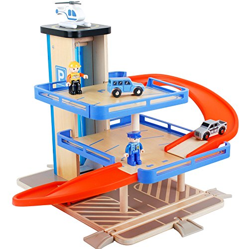 Deluxe Garage Playset - Garage parking playset DIY Downtown Deluxe car wooden 3 Level Car Parking Garage with Helicopter Pad trains police sets car toys Wooden Train Tracks race model car set for Children 3 years old and up