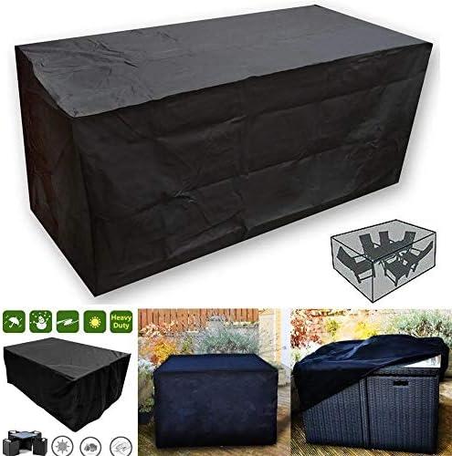 家具ダストカバー 悪天候の家具を保護するために防水ラタン・キューブ屋外のガーデンテラスの家具テーブルカバー 優れた汎用性 (色 : Black, Size : 205x104x71cm)