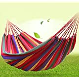 OFKP® Camping Hammock Space Saving Hanging Swing Bed Colorful Cotton Polyester Outdoor Hammock 200 x 150 cm (Red)