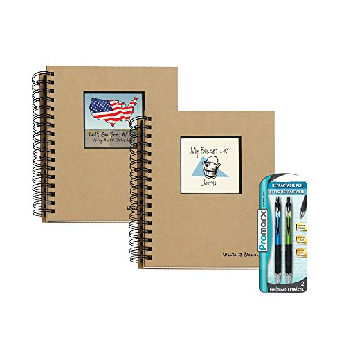 Bundle - Let's Go See All 50!, Visiting the 50 States Journal & My Bucket List Journal Plus 2 Promarx Grippy fx Premium Retractable Pens (assorted barrel colors)