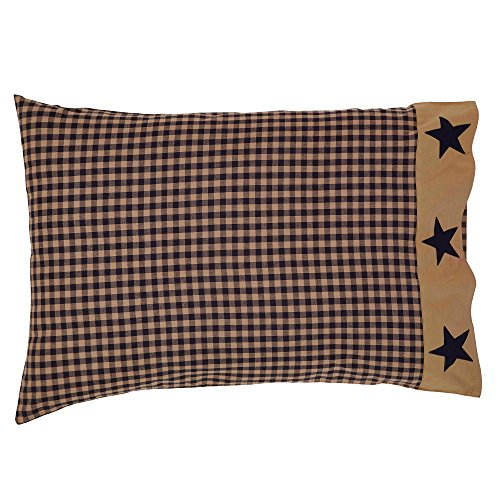 Pillow Case with Applique Star Border - Set of 2