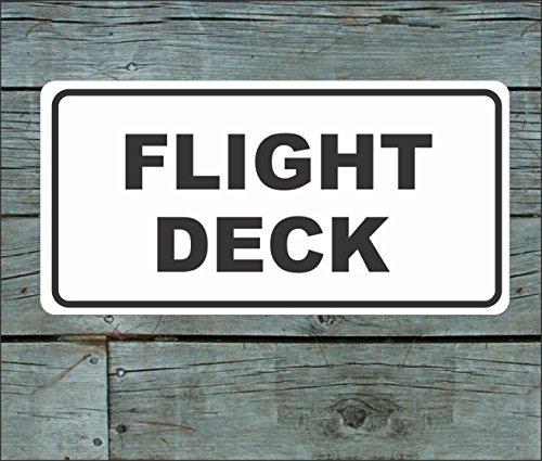 FLIGHT DECK Vintage Retro Art Deco Style Metal Sign for Airport Air Plane Hangar Hotel Motel Bar or Restaurant Highway Motel HWY Gas Service Station