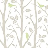 Wall Pops NU1655 Sitting in a Tree Peel and Stick Wallpaper, Grey/Green