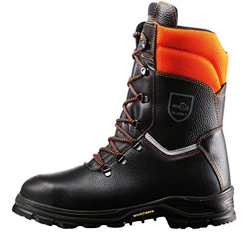Schnittschutzstiefel  Klasse 1 WOODSafe® S3 schwarz/orange - Forststiefel kwf-geprüft Größe 43