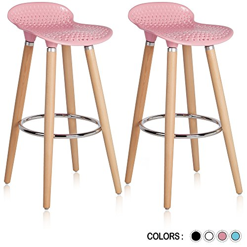 Krei Hejmo Plastic Bar Stool Chair with Wood Base Gelato - Set of Two (Pink)