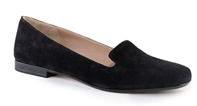 Max Mara Womens Loafer Flats Black Suede Italian Leather Comfortable Stylish and Supportive
