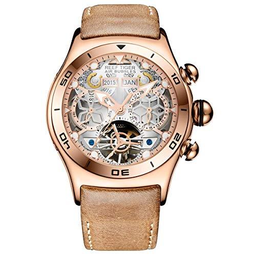 Reef Tiger Sport Mens Tourbillon Watch Multi-Functional Rose Gold Skeleton Quartz Watches RGA703