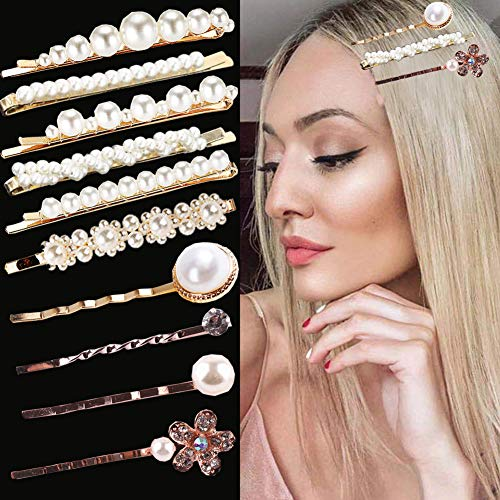 MOAMG 10 Pcs Pearl Hair Clip Barrettes gift Hair Pins Bobby Pins jeweled hair clips Accessorie for girls Ladies and Women Wedding Bridal Faux ()