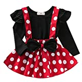 Baby Girls 1st Birthday Outfit Long Sleeve T-Shirt Top Polka Dot Suspender Tutu Skirt 2Pcs Clothes Set for Photo Shoot X-Back Red Long Sleeve(2PCS) 3-4 Years
