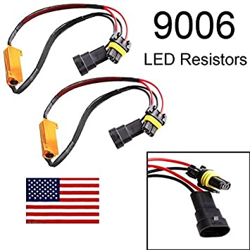1 Pair 9005 HB3 H10 50W 6 Ohm LED Lights Load Resistor Adapter Fix Hyper Flashing Blinking Canbus Error Warning Canceller Decoder Autobaba