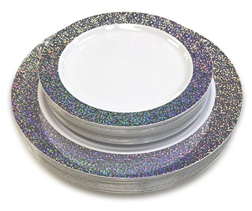 OCCASIONS 120 Piece Pack Premium Disposable Plastic Plates Set - 60 x 10.25'' Dinner + 60 x 7.5'' Salad/dessert (120 pcs, Hollywood (Silver And White Decorations)