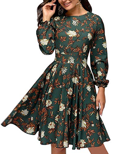 Simple Flavor Women's Floral Vintage Cocktail Swing Dress Ruffle Sleeve(Green,S)