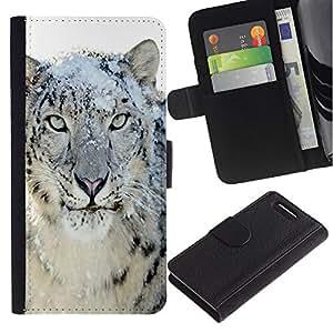 iKiki Tech / Cartera Funda Carcasa - Snow Leopard Tiger Furry Winter Animal - Sony Xperia Z1 Compact D5503