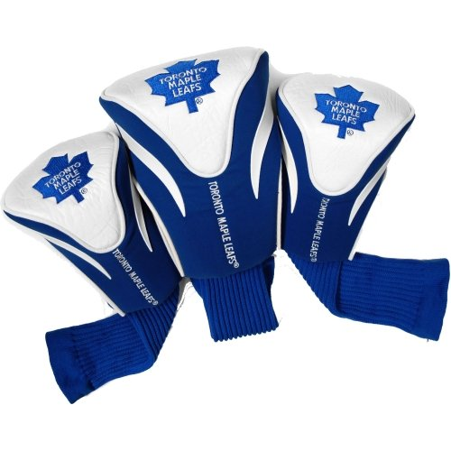 Team Golf NHL Toronto Maple Leafs Contour Golf Club Headcovers (3 Count), Numbered 1, 3, & X, Fits Oversized Drivers, Utility, Rescue & Fairway Clubs, Velour lined for Extra Club Protection