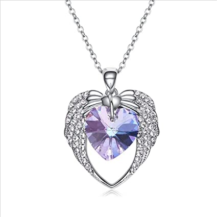 2b4273eca00c7 Amazon.com : Nafeng Women's Necklace Heart Shaped Crystal Necklace ...