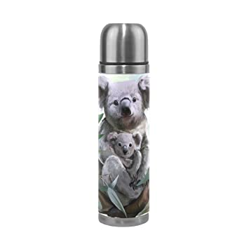ALAZA Koala und Faultier Edelstahl Wasser Flasche auslaufsicher doppelwandige Vakuum Isoliert Thermoskanne 17/Oz Echt Leder H/ülle verpackt