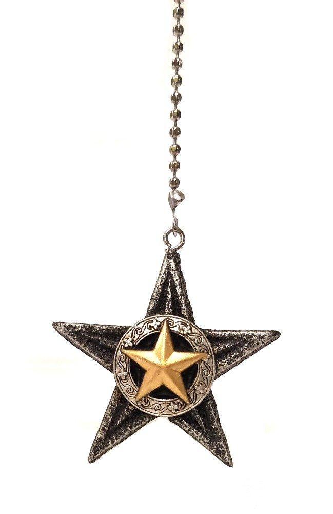 Southwestern Themed Ceiling Fan Pull Light Extension Ornaments (Western Star)
