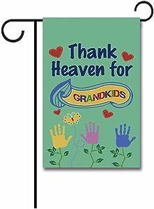KafePross Thank Heaven for Grandkids Garden Flag Kids Palm Flowers Home Deocr Banner for Outside 12.5