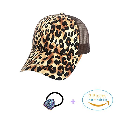 HADM Faux Suede Leopard Print Fabric Ponytail Baseball Cap Hat Ponycap Messy Bun Mesh Trucker Hats for Women + Head Rope