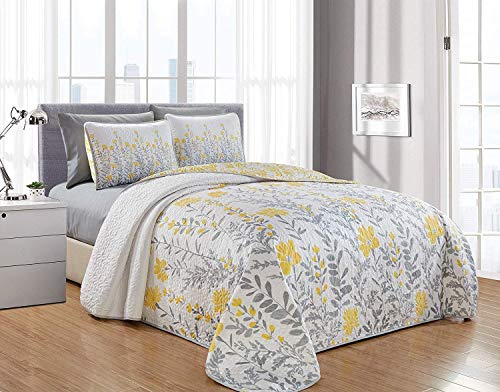 Leah 6PC Printed Blooming Flowers Bedspread, Oversize Coverlet, 1 Quilt, 2 Pillow Shams, 2 Pillowcases and 1 Fitted Sheet, Flat Sheet NOT Included (Yellow/Gray, King)