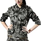 Topway Women Army Camo Cotton Stand Collar Jacket Leisure Sports Cargo Coat Tops (Camouflage, XX-Large)