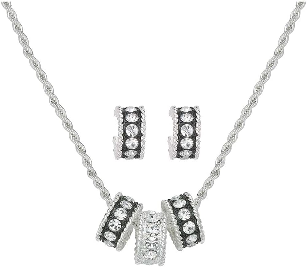 Montana Silversmiths Womens Triple Rings Necklace And Earrings Set Js1032