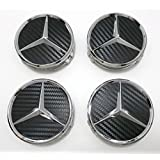 Angel Mall Mercedes-Benz 75mm Outer Diameter Black Wheel Center Hub Caps Cover 4-pc Set