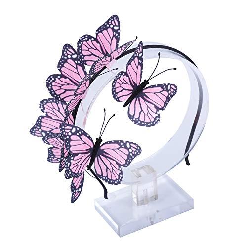 (AWAYTR Girl Butterfly Fancy Fairy Headband Boho Chic Cloth Art Costume Party Tiara Crown Prop Hair Band Hoop Headband)