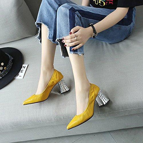 DHG Jaune Chaussures Jane Cuir des Chaussures Mary la Mode 39 à des Sexy Élastique avec Pointues en de Femmes Hauts Simples Talons Femmes 1FwxAqr41