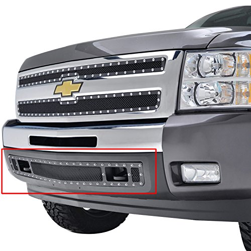 E Autogrilles 07 13 Chevrolet Silverado 1500 Bumper Evolution Black Stainless Steel Wire Mesh Grille 46 0725