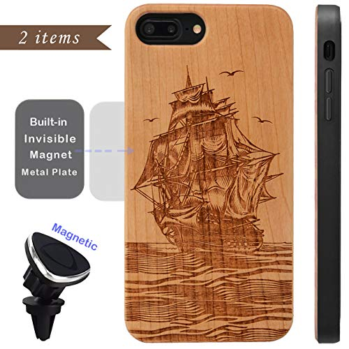 (iProductsUS Compatible iPhone 8,7,6/6S (Regular Size) Case Wood and Magnetic Mount, Engraved Pirate Boat Phone Cover, Built-in Metal Plate Covered TPU Rubber Protective Shockproof Cases (4.7