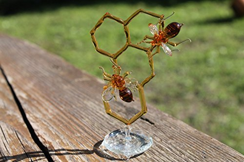 Glass Honeycomb and Bee Collectible Figurine Glass Bee Blown Glass honeybee Honeybee and Honey comb honey bee