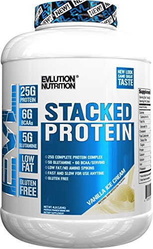 - Evlution Nutrition Stacked Protein Protein Powder with 25 Grams of Protein, 5 Grams of BCAA's and 5 Grams of Glutamine (4 LB, Vanilla Ice Cream)