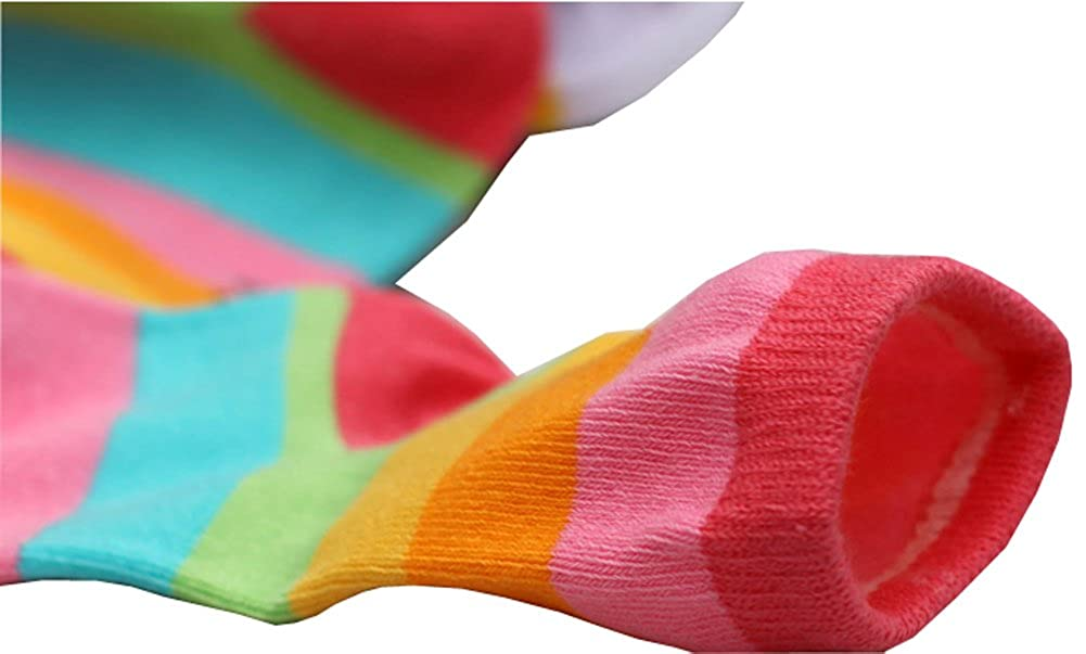 CHUNG Toddler Little Girls Cotton Rainbow Stripes Ankle Crew Socks Colorful 5 Pack