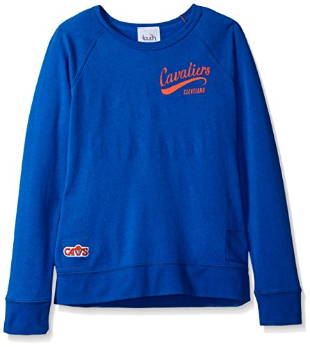 NBA Cleveland Cavaliers Women's Dugout Reversible Pullover Sweatshirt, Large, Royal (Sherpa Print Screen Sweatshirt)