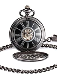 KS Men's KSP035 Steampunk Mechanical Black Smooth Case Roman Numbers Pocket Watch with Chain