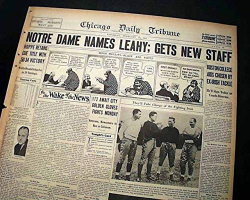 FRANK LEAHY Notre Dame Fighting Irish College FOOTBALL New Coach 1941 Newspaper CHICAGO DAILY TRIBUNE, section 2 (sports) only, February 15, 1941