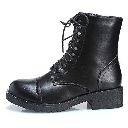 anfibi MForshop stivaletti stivali moda donna borchie ab23 tronchetto scarponcino Nero scarpe qrqXpR