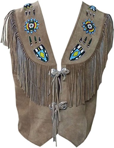 LEATHERAY Men's Fashion Western Cowboy Fringed & Beaded Vest Suede Leather Beige -