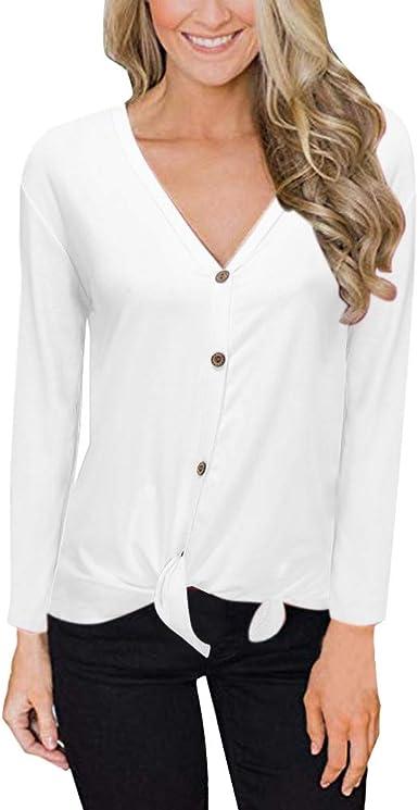 AIni Camiseta Mujer Manga Larga Talla Grande Camisa De OtoñO para Mujer Camisa con Cuello En