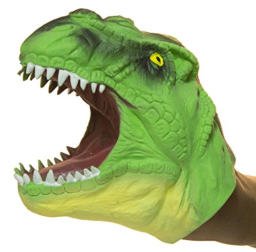 Soft Rubber Realistic 6 Inch Tyrannosaurus Rex Hand Puppet (Green)