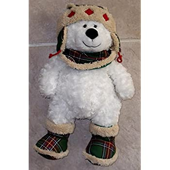f9b68f6aae2 TEDDY BEAR WHITE CURLY PLUSH WITH LUMBERJACK HAT AND BOOTS - 17 INCHES