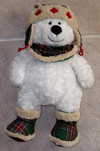 TEDDY BEAR WHITE CURLY PLUSH WITH LUMBERJACK HAT AND BOOTS - 17 INCHES