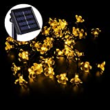 MOVEmen 5M 50 Lights Peach Flower Shape Lighting Lamps Outdoor Solar Powered Light String LED Super Bright Waterproof Sunscreen Lights for Bedroom Wedding Festival Party Decor (Yellow)
